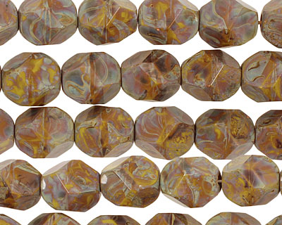 Czech Glass Misty Moors Faceted Nugget 10x8mm