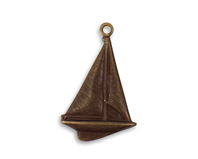 Vintaj Natural Brass Windy Sailboat 23.5x16mm