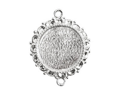 Nunn Design Sterling Silver (plated) Large Ornate Circle Bezel Link 37x30mm