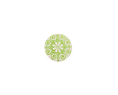 Lillypilly Lime Green Scrolling Daisy Anodized Aluminum Disc 11mm, 24 gauge