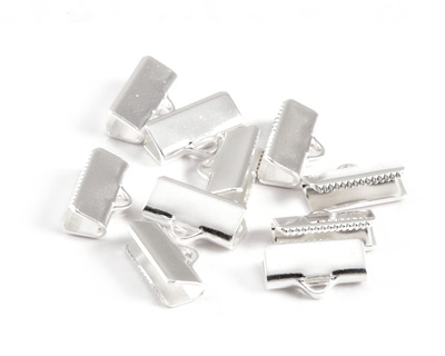 Silver (plated) Smooth Ribbon Crimp End 13mm