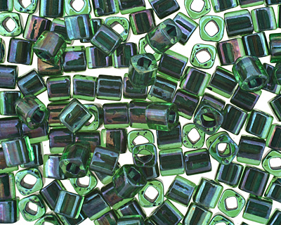 TOHO Rainbow Peridot (with Opaque Green Lining) Cube 4mm Seed Bead