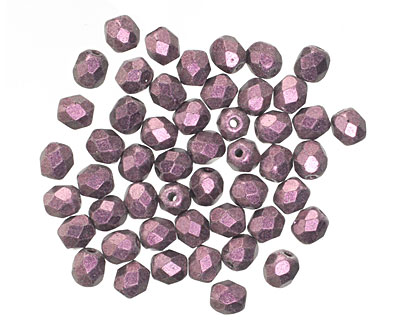 Czech Fire Polished Glass Pink Metallic Suede Round 4mm
