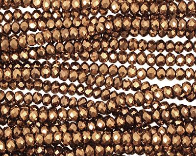 Metallic Antique Bronze Crystal Faceted Rondelle 3mm
