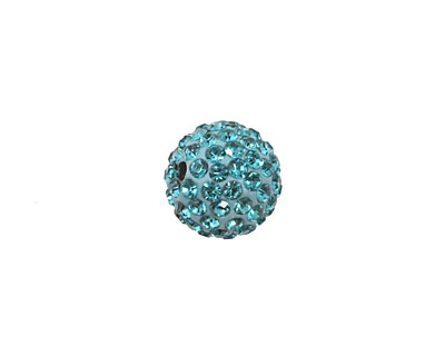 Aquamarine Pave Round 12mm (1.5mm hole)