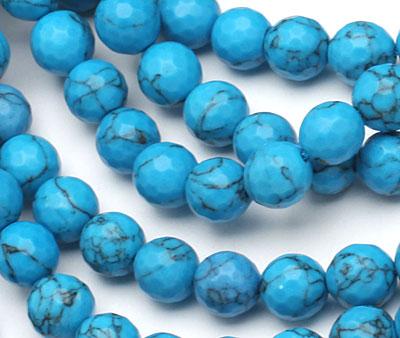 Howlite Turquoise (dark) Faceted Round 8mm