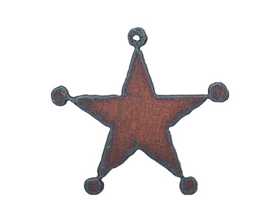 The Lipstick Ranch Rusted Iron Sheriff Badge Pendant 55x53mm