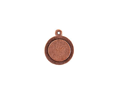 Nunn Design Antique Copper (plated) Raised Tag Mini Circle Pendant 17x21mm