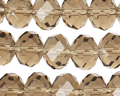 Smoky Crystal Faceted Rondelle 14mm