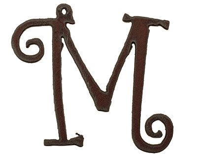 The Lipstick Ranch Rusted Iron Letter M Pendant 61x50mm