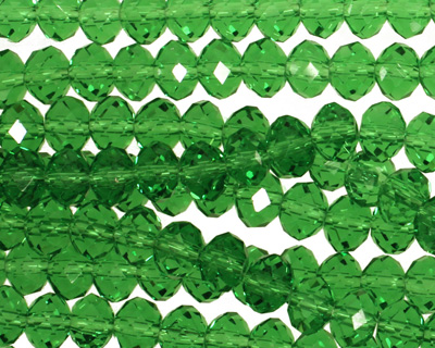 Kelly Green Crystal Faceted Rondelle 6mm