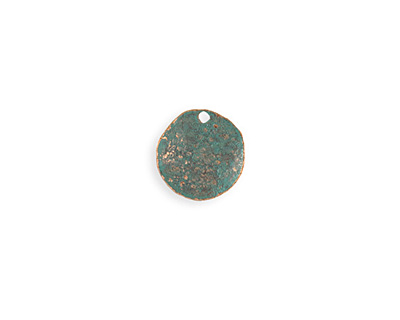 Vintaj Copper Verdigris (plated) Dotted Dapped Circle 14mm