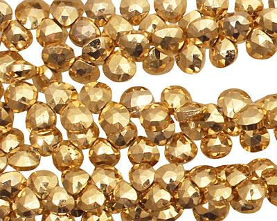 Golden Pyrite Faceted Flat Teardrop 4.5-5x5-6mm