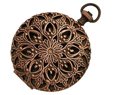 Antique Copper (plated) Round Filigree Timepiece Heirloom Locket 45x60mm