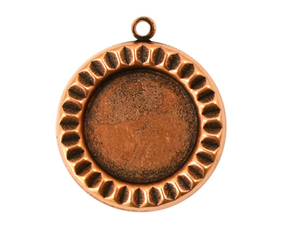 Stampt Antique Copper (plated) Sunburst Round Setting 18mm