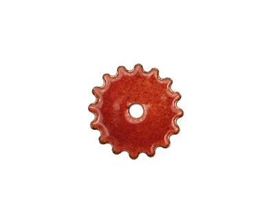 C-Koop Enameled Metal Ruby Red Small Closed Gear 16mm