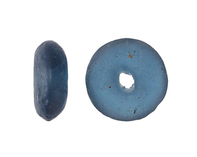 African Recycled Glass Peacock Tumbled Donut 17-19mm