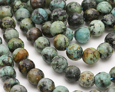 African Turquoise Faceted Round 8mm