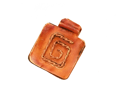 Patricia Healey Copper Square w/ Rope Spiral Pendant 18x22mm
