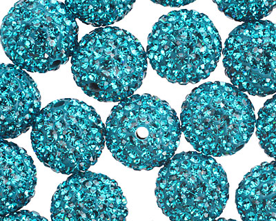 Blue Zircon Pave (w/ Preciosa Crystals) Round 12mm