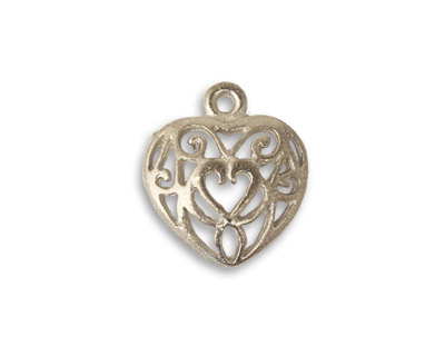 Vintaj Pewter Heart to Heart Charm 17x19mm