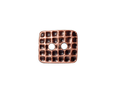 TierraCast Antique Copper (plated) Rectangle Hammertone Button 15x13mm