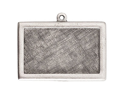 Nunn Design Antique Silver (plated) Horizontal Rectangle Framed Pendant 37x25mm