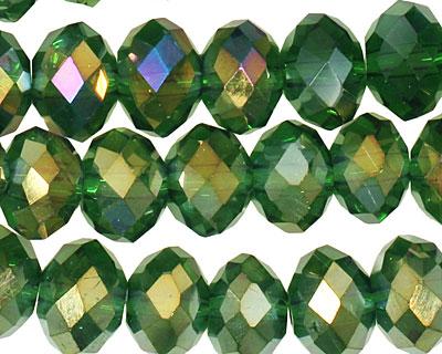 Dark Emerald AB Crystal Faceted Rondelle 8mm