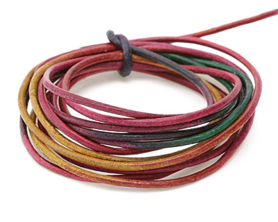 Natural Tourmaline Leather Cord 2mm