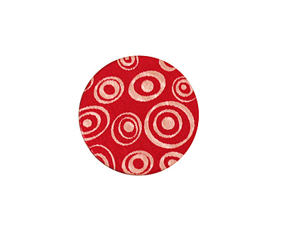 Lillypilly Red Groovy Circles Anodized Aluminum Disc 19mm, 24 gauge
