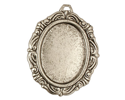 Stampt Antique Pewter (plated) Damask Frame Oval Setting 18x25mm