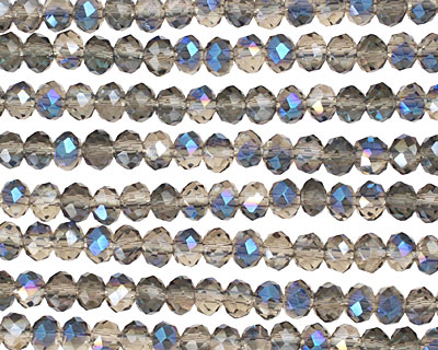 Smoky & Blue AB Crystal Faceted Rondelle 4mm