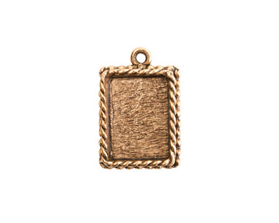 Nunn Design Antique Gold (plated) Mini Ornate Rectangle Bezel Pendant 14x21mm