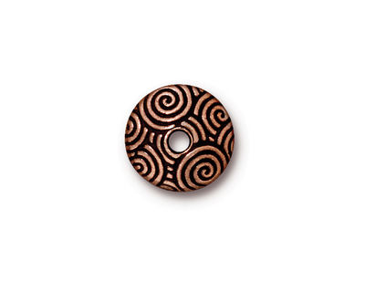 TierraCast Antique Copper (plated) Large Hole Spiral Dance Bead Cap 4x14mm