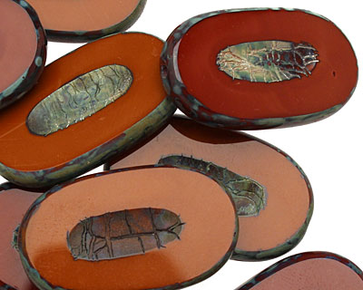 Czech Glass Rustic Red Picasso Carved Oval 26x15mm