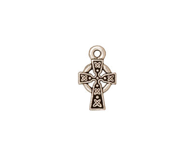 TierraCast Antique Silver (plated) Celtic Cross Charm 9x15mm