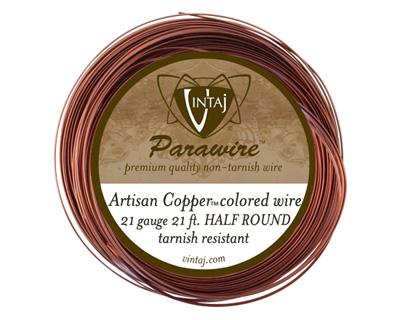 Vintaj Artisan Copper Half Round Parawire 21 gauge, 21 feet