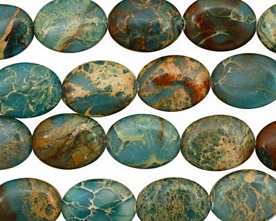 Turquoise Impression Jasper Flat Oval 20x15mm