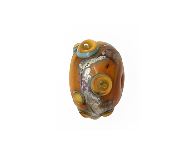 The BeadsNest Lampwork Glass Marmalade Rondelle 12-13x16-18mm