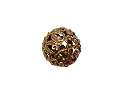 Stampt Antique Copper (plated) Filigree Ball 14mm