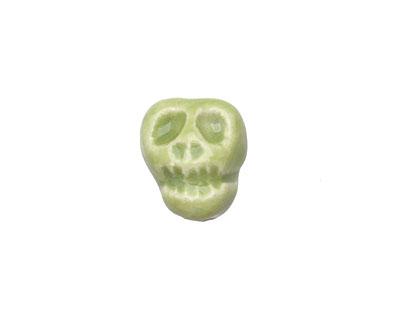 Gaea Ceramic Juju Lime Skull Bead 14-15x11-12mm
