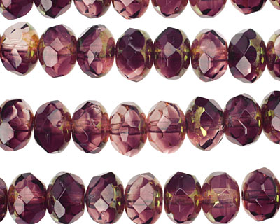 Czech Glass Luster Transparent Amethyst w/ Gold Fire Polished Rondelle 6x9mm