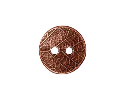 TierraCast Antique Copper (plated) Round Leaf Button 17mm