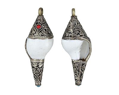 Tibetan White Brass Trimmed White Conch Shell Pendant 30-33x79-85mm