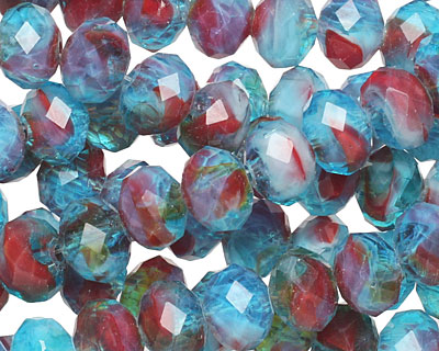 Rhubarb & Blueberry Pie Crystal Faceted Rondelle 8mm