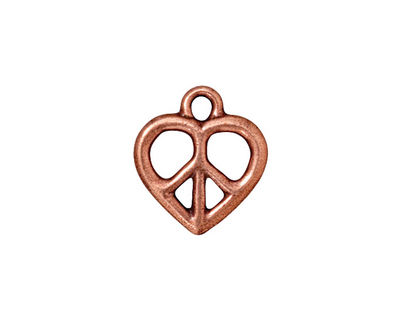 TierraCast Antique Copper (plated) Heart Peace Charm 15x17mm