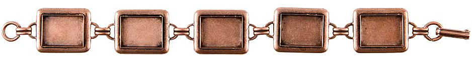 Nunn Design Antique Copper (plated) Large Rectangle Bezel Bracelet 16x12mm
