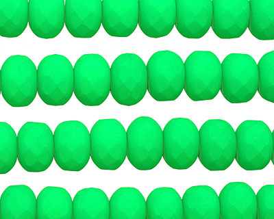 Czech Glass Bright Neon Green Faceted Rondelle 6x9mm