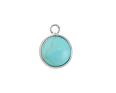 Turquoise (syn.) Coin Focal w/ Silver Finish 13x17mm