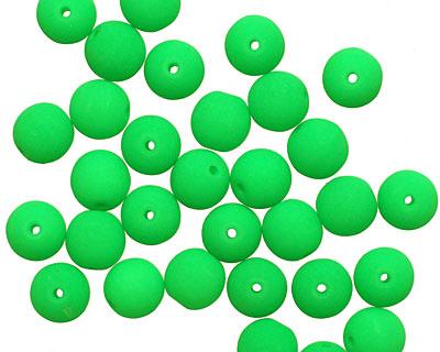 Czech Glass Bright Neon Green Round 6mm
